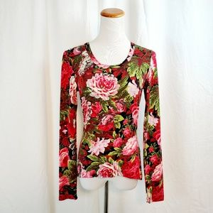Karen Kane S Top Floral Print Fitted Long Sleeve